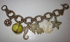 $98 J CREW Sunset Beach Charm Bracelet COLLECTOR'S ITEM Anchor Seahorse Starfish