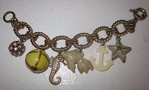 $98 J CREW Sunset Beach Charm Bracelet COLLECTOR'S ITEM Anchor Seahorse Starfish