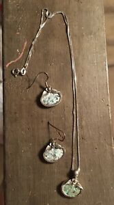 Roman Glass Necklace and Earring Set Sterling Silver