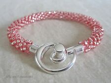 Shiny Silver Pastel Rose Pink Kumihimo Seed Bead Fashion Bracelet Gift For Her