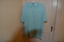 Peter Millar Summer Comfort Blue Striped Polo Golf Shirt Men's Size XL