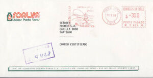 Chile 1996 Registered Mail Advertising Cover Fishing in South America Red Meter