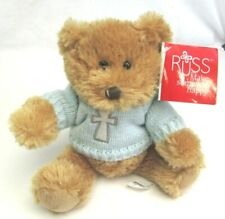 "Russ Berrie 8"" Plush Bear w/ Faith Blue Sweater Christian Cross New Easter Gift"