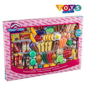 120 Piece Kids Food Set Play House Accessories Toy Pretend Kitchen Present Boxed