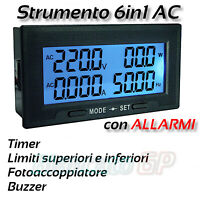 Multimeter Recessed With Alarms 60V -500V AC Current 20A Frequency Power