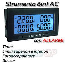 Multimetro da incasso con allarmi 60V -500V AC corrente 20A Frequenza Potenza