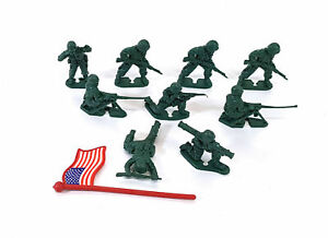 """Army Men 2"""" Plastic US Infantry WWII Unmarked Vintage c1980s 641AA"""