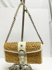 Michael Kors Small Cream Patent Leather & Straw Weave Clutch Shoulder Bag Purse