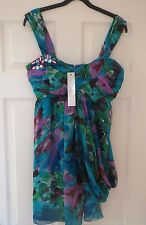 BNWT STUNNING Women's LIPSY Embellished BABY DOLL Floral Print DRESS SIZE UK 12