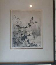 "Winifred Austen etching,Flushing Goldeneyes ,Framed  pencil signed, 9"" x 11"""