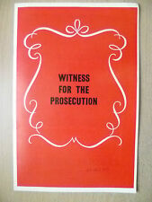 B'Ham Theatre Programme 1971- WITNESS FOR THE FROSECUTION by AGATHA CHRISTIE