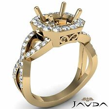 Diamond Engagement Round Semi Mount 0.63 Carat Ring 14k Yellow Gold Curve Shank