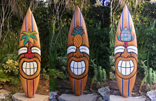 """Happy Tiki Surfboard Mask Package Deal Wood Patio Tropical Bar 40""""  Set of 3"""
