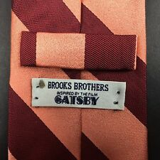 RECENT Brooks Brothers The Great Gatsby Necktie Pink Maroon Diagonal Stripe Tie
