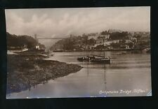 Gloucestershire CLIFTON river scene looking to Bridge Boats 1920 RP PPC
