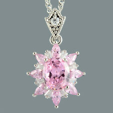 Oval Pink Sapphire 18K White Gold Plated Flower Pendant Necklace Curb Chain