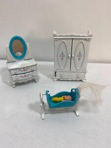 Vintage The Littles Dollhouse Furniture Armoire Crib Dresser Baby 1980 Mattel