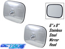 "1947-72 6""x8"" Stainless Steel Exterior Rectangular Square Rear View Mirror Pair"