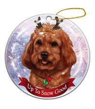 Holiday Pet Gifts Cockapoo Red Dog Porcelain Christmas Ornament