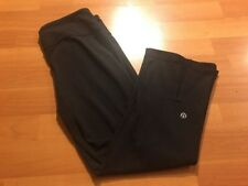Womens Lululemon Black Crop Capri Pants Size 6 Split Back Active