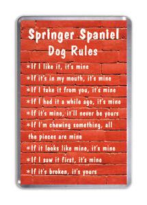 Springer Spaniel Dog Rules, Funny Dog Fridge Magnet Pet Animal Lover Gift
