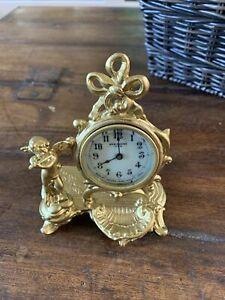ANTIQUE NEW HAVEN DESK MANTEL CLOCK ART NOUVEAU GOLD LOOKING METAL