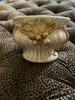 Art Pottery Bowl Vase Vintage Gold Rope Berries Leaves Small Footed Bowl Hg16