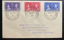 1937 Gilbert & Slice Island First Day Cover FDC Coronation KGVI King George 6