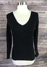 Forever 21 Womens Top Size Small Black Long Sleeve Solid V Neck Fitted Tee Shirt