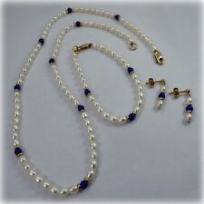 Lapis Lazuli and Freshwater Pearl Necklace, Bracelet and Earrings