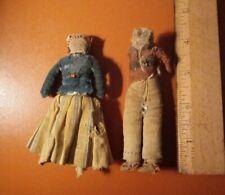 Lot Of 2 Antique 4 Inch Cloth Dolls