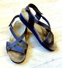 Naot Womens Bernice Wedge Strap Sandal Buffalo Leather Brown Size 7 US