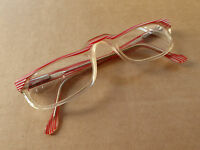 Vintage retro adult spectacles, red & white stripes. Overall good with some wear