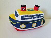 Disney Cruise Line Plush Ship Boat Souvenir Toy Blue White Yellow Red