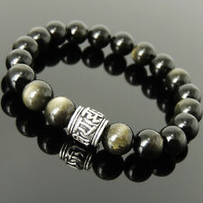 Men's Women 10mm Golden Obsidian Bracelet 925 Sterling Silver OM Bead 1147