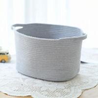 Cotton Woven Storage Basket Rattan Storage Box Cosmetics Organizer Gray