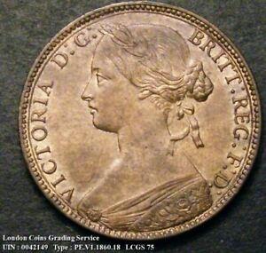 1860 Queen Victoria Bronze Penny CGS 75 around MS 62-MS 63