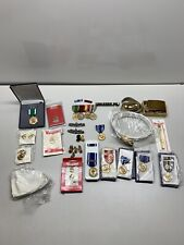 New listing Mixed Lot Us Military Medals Usn Navy Pins Brass Belt Buckle