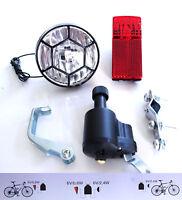 BICYCLE BIKE DYNAMO LIGHTS SET HEAD & REAR LIGHT Cycle Power Retro Classic