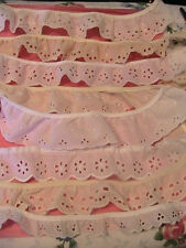 """11 PIECE EYELET SCALLOP LACE LOT """"J""""~trim~embellishment~up to 1 yd L x 1""""-2-1/2"""""""