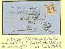 LETTRE GARE DE  MONTBELIARD POUR SOLEURE SUISSE 17-9-1871 + BOITE MOBILE