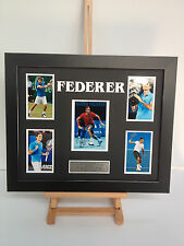 UNIQUE PROFESSIONALLY FRAMED, SIGNED ROGER FEDERER PHOTO COLLAGE WITH PLAQUE.