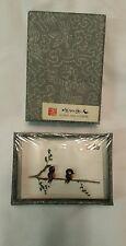Vintage Chinese Yang Ling Handmade Bean Sculpture Souvenir Perch original box