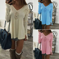 Women Long Sleeve V Neck Shirt Tops Casual Hollow Out Loose Plain Autumn Blouse