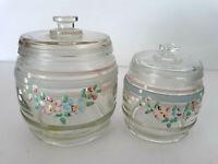 2 VTG Clear GLASS Jar APOTHECARY Lidded Hand Painted Art Deco Shabby Floral