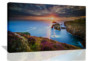 Sunset in Cornwall Landscape View Canvas Wall Art Picture Print