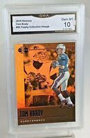 "RARE GEM MINT 10: 2019 Tom Brady ""Gold/Orange"" Illusions Football Card #65"