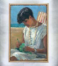 Jean Verdier(1901,1969) Ecole suisse  Huile sur carton . Scène de plage