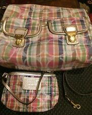 Coach Poppy Daisy Madras Shoulder Crossbody Hobo F23393+wristlet Wallet EUC Set
