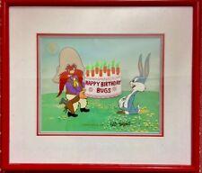 Warner Brothers Cel Yosemite Sam Happy Birthday Bugs Bunny Signed Friz Freleng
